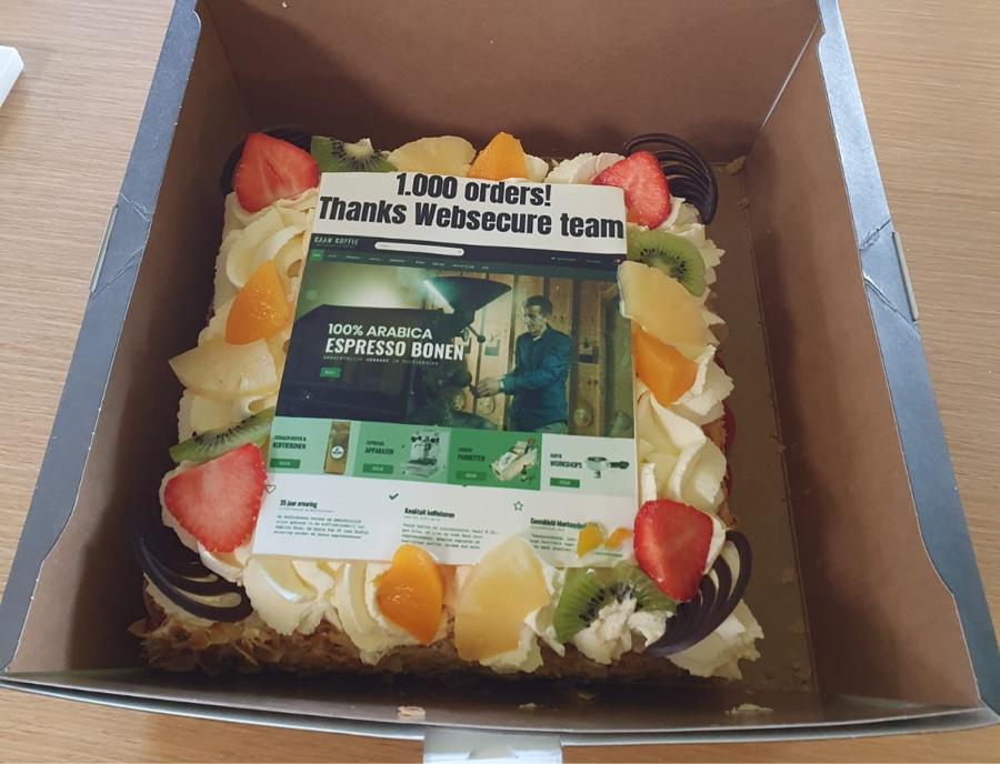 1.000ste bestelling op het nieuwe kaankoffie.nl